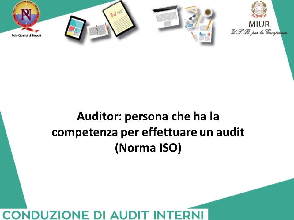 Auditor: persona che ha la competenza per effettuare un audit (Norma ISO)
