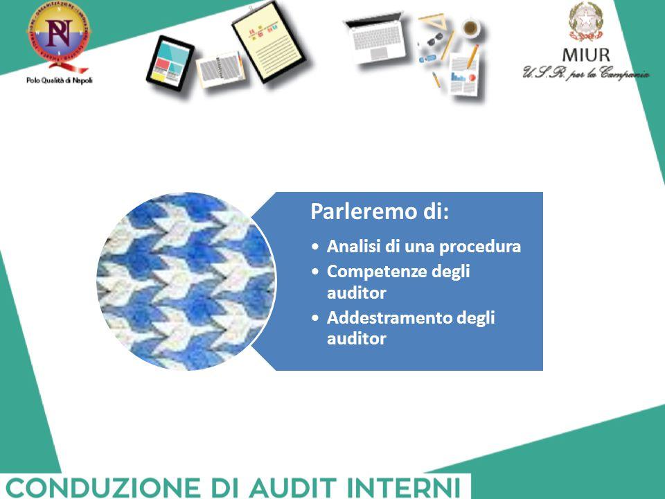 Parleremo di: Analisi di una procedura Competenze degli auditor