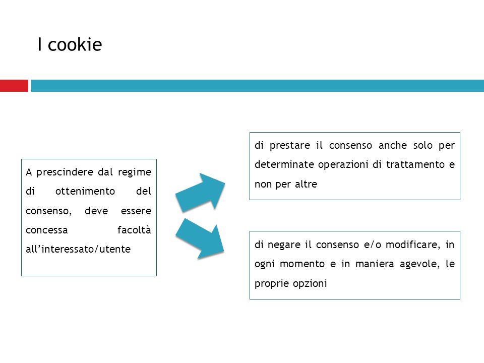 I cookie di prestare il consenso anche solo per determinate operazioni di trattamento e non per altre.