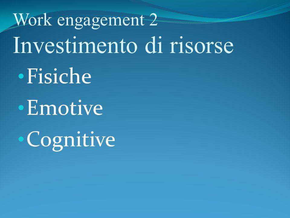 Work engagement 2 Investimento di risorse
