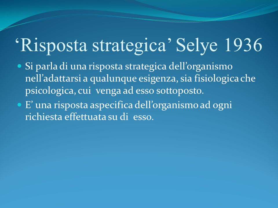 'Risposta strategica' Selye 1936