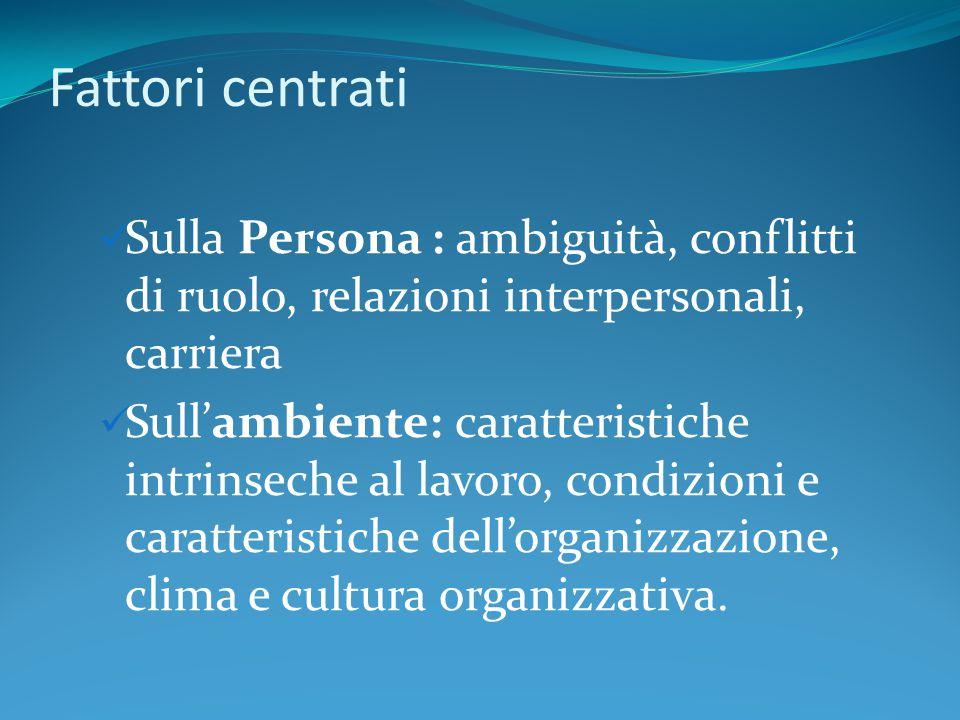 Fattori centrati Sulla Persona : ambiguità, conflitti di ruolo, relazioni interpersonali, carriera.