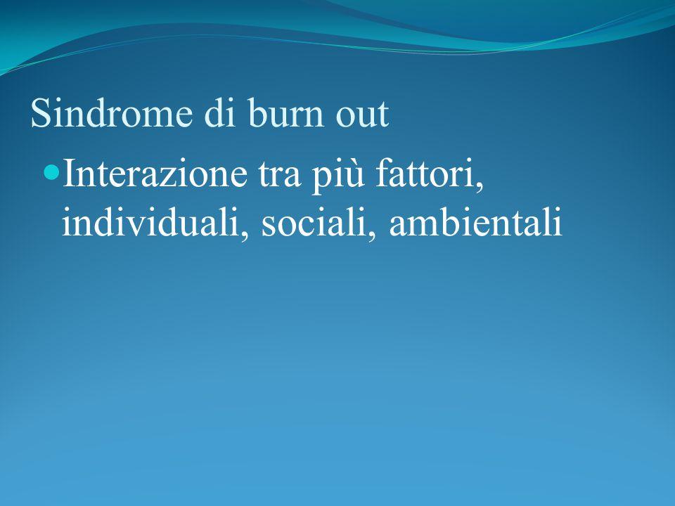 Sindrome di burn out Interazione tra più fattori, individuali, sociali, ambientali