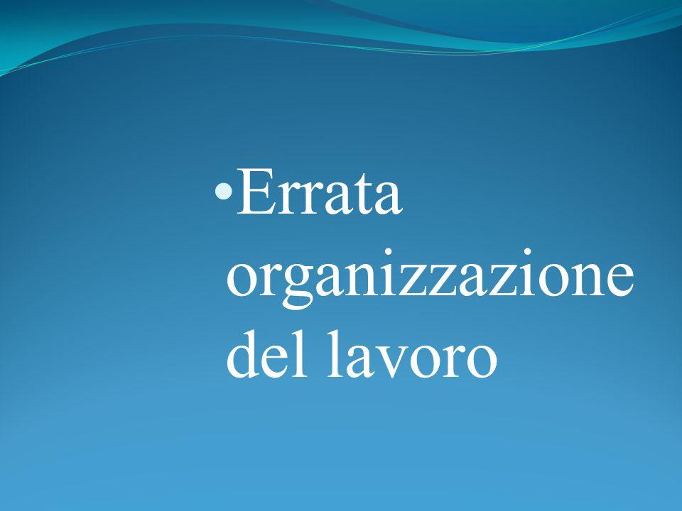 Errata organizzazione del lavoro