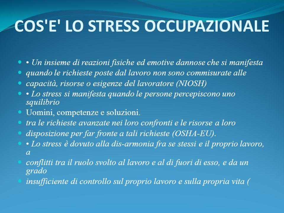 COS E LO STRESS OCCUPAZIONALE
