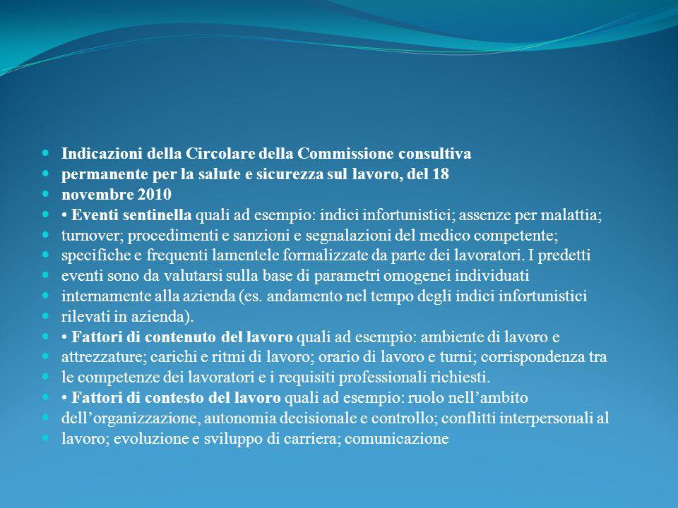Indicazioni della Circolare della Commissione consultiva