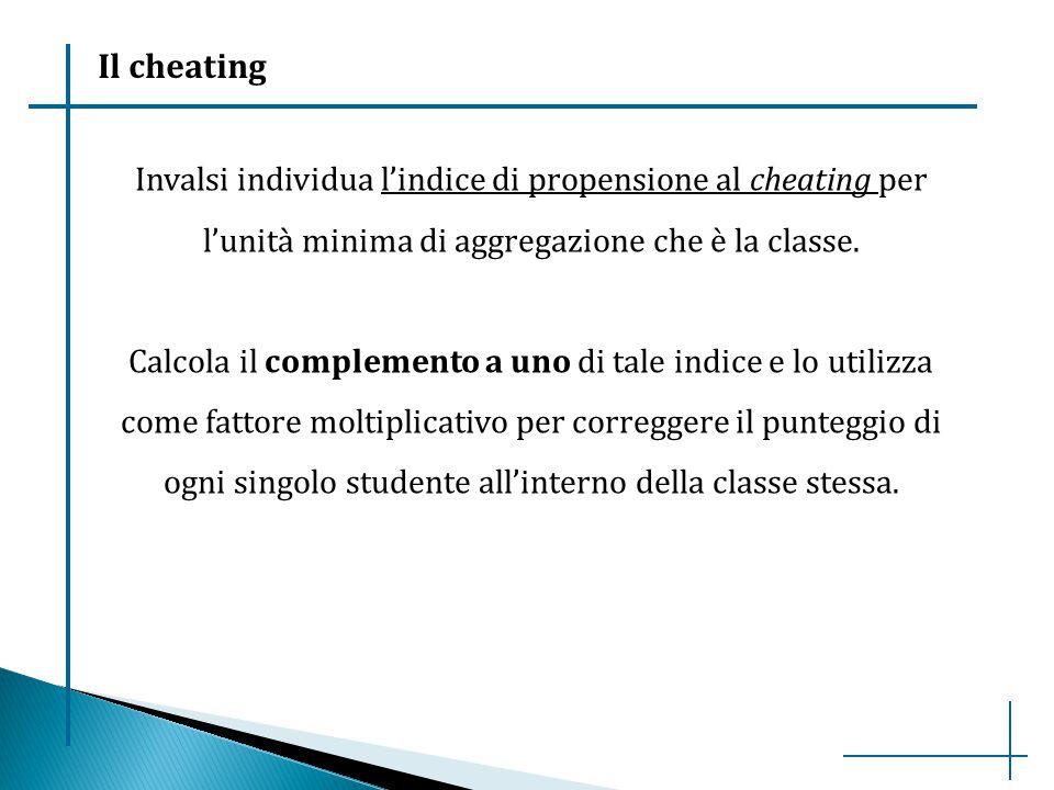 Il cheating Invalsi individua l'indice di propensione al cheating per l'unità minima di aggregazione che è la classe.