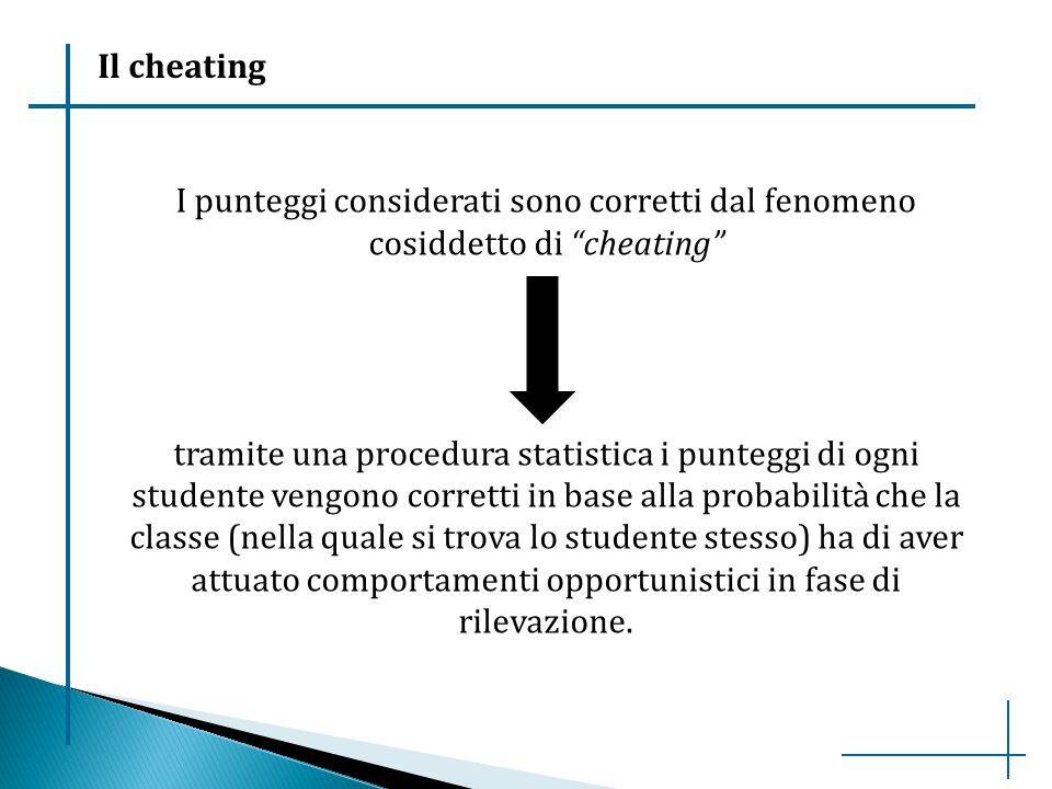 Il cheating I punteggi considerati sono corretti dal fenomeno cosiddetto di cheating