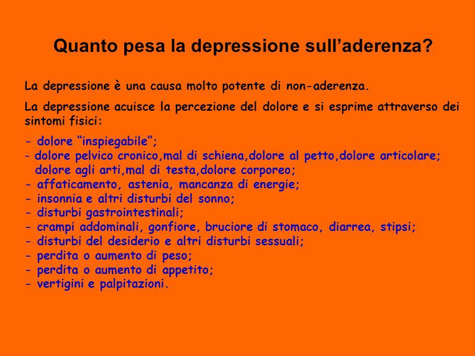 Quanto pesa la depressione sull'aderenza