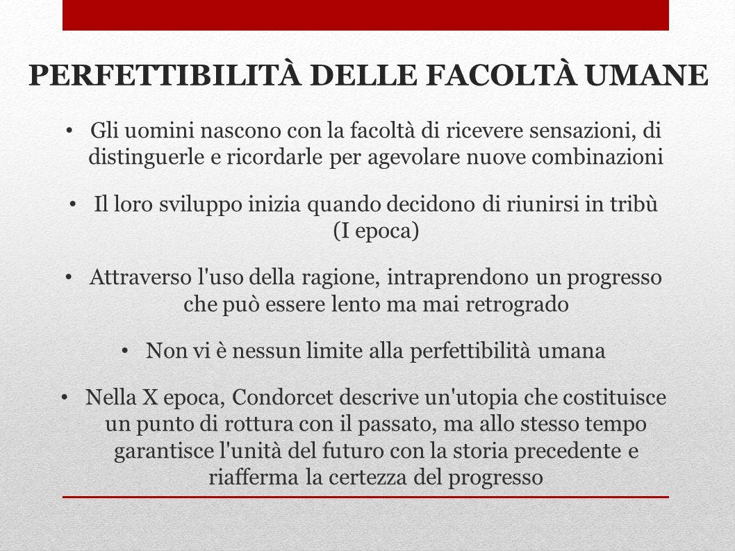 PERFETTIBILITÀ DELLE FACOLTÀ UMANE