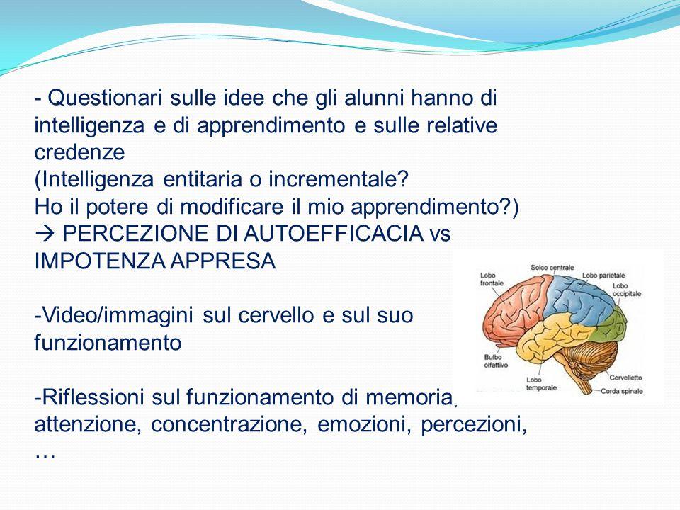 - Questionari sulle idee che gli alunni hanno di intelligenza e di apprendimento e sulle relative credenze (Intelligenza entitaria o incrementale.