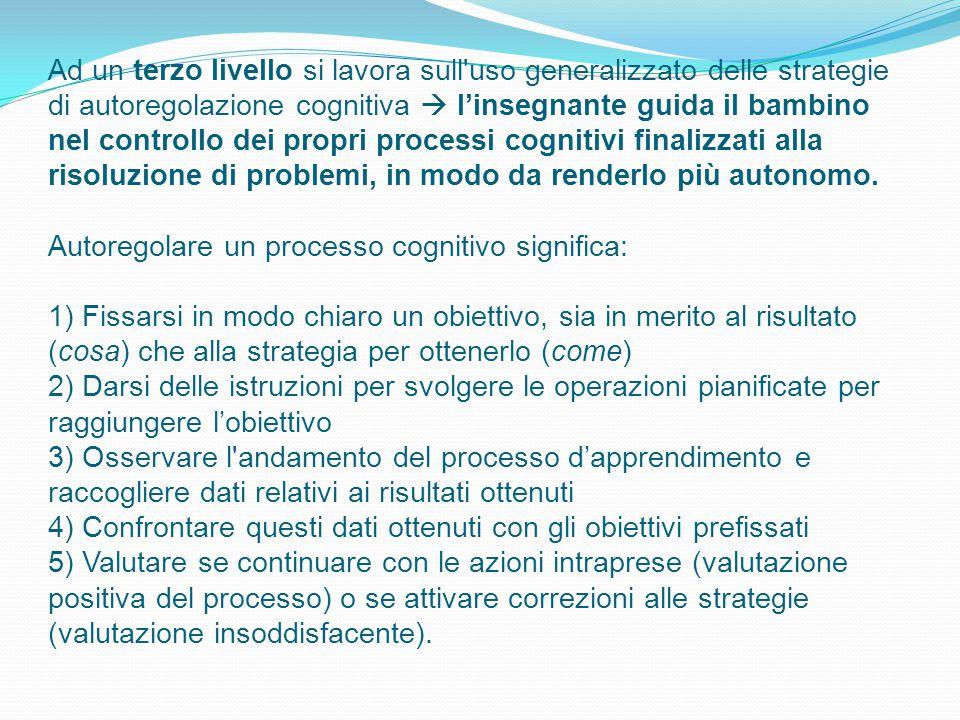 Ad un terzo livello si lavora sull uso generalizzato delle strategie di autoregolazione cognitiva  l'insegnante guida il bambino nel controllo dei propri processi cognitivi finalizzati alla risoluzione di problemi, in modo da renderlo più autonomo.