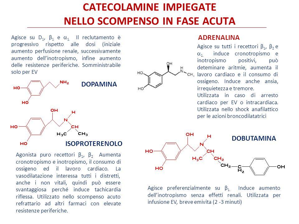 catecolamine IMPIEGATE NELLO SCOMPENSO IN FASE ACUTA