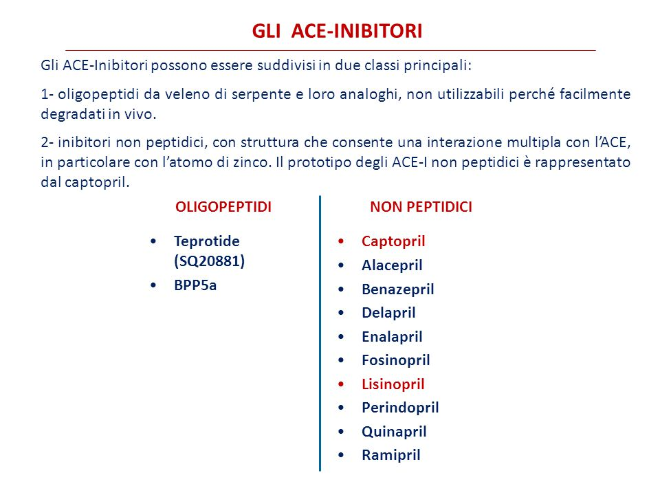 GLI ACE-INIBITORI Gli ACE-Inibitori possono essere suddivisi in due classi principali: