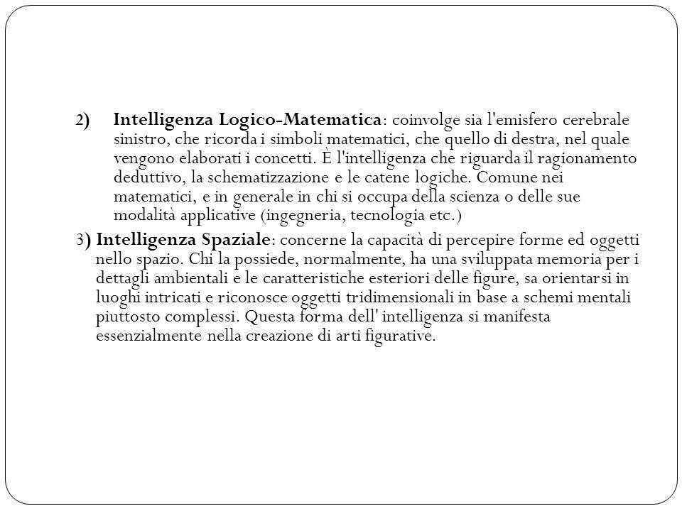 2) Intelligenza Logico-Matematica: coinvolge sia l emisfero cerebrale sinistro, che ricorda i simboli matematici, che quello di destra, nel quale vengono elaborati i concetti. È l intelligenza che riguarda il ragionamento deduttivo, la schematizzazione e le catene logiche. Comune nei matematici, e in generale in chi si occupa della scienza o delle sue modalità applicative (ingegneria, tecnologia etc.)