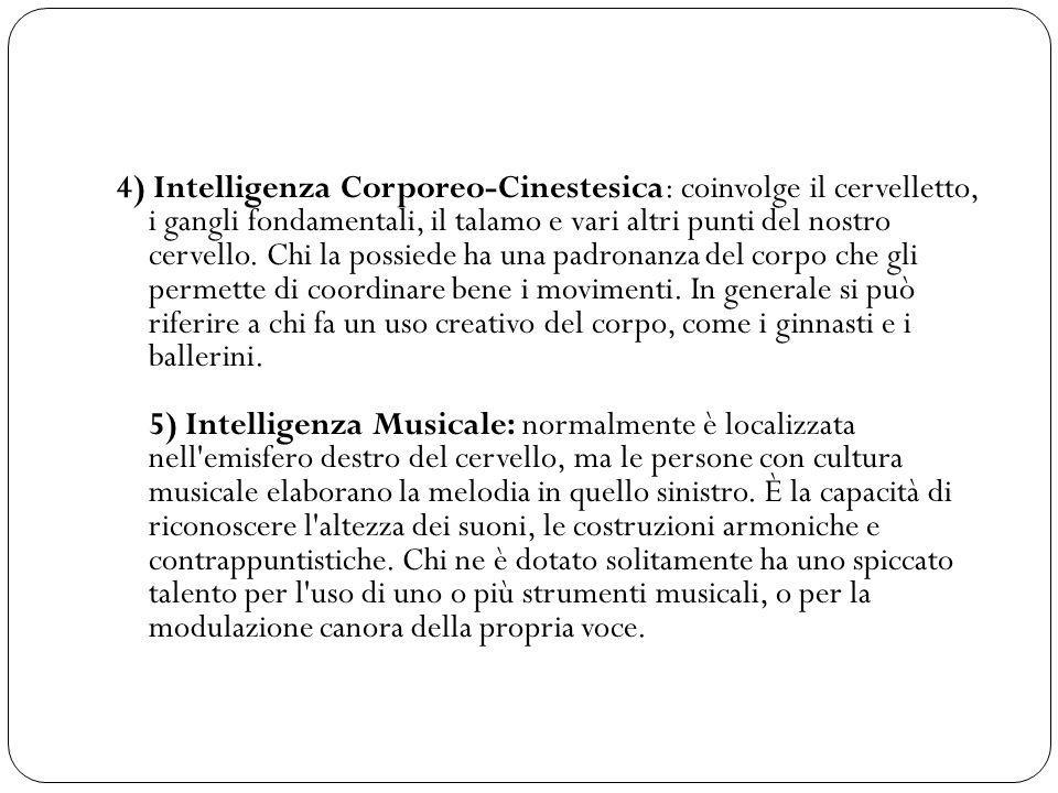 4) Intelligenza Corporeo-Cinestesica: coinvolge il cervelletto, i gangli fondamentali, il talamo e vari altri punti del nostro cervello.