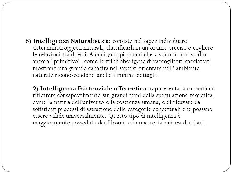 8) Intelligenza Naturalistica: consiste nel saper individuare determinati oggetti naturali, classificarli in un ordine preciso e cogliere le relazioni tra di essi.