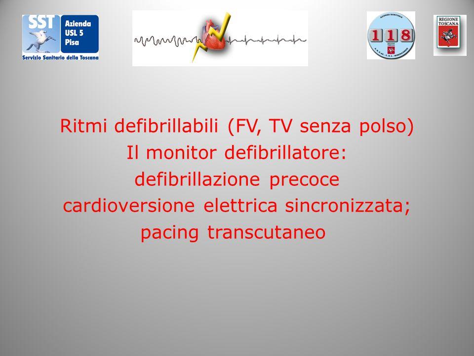Ritmi defibrillabili (FV, TV senza polso) Il monitor defibrillatore: