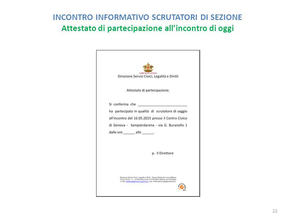 INCONTRO INFORMATIVO SCRUTATORI DI SEZIONE Attestato di partecipazione all'incontro di oggi