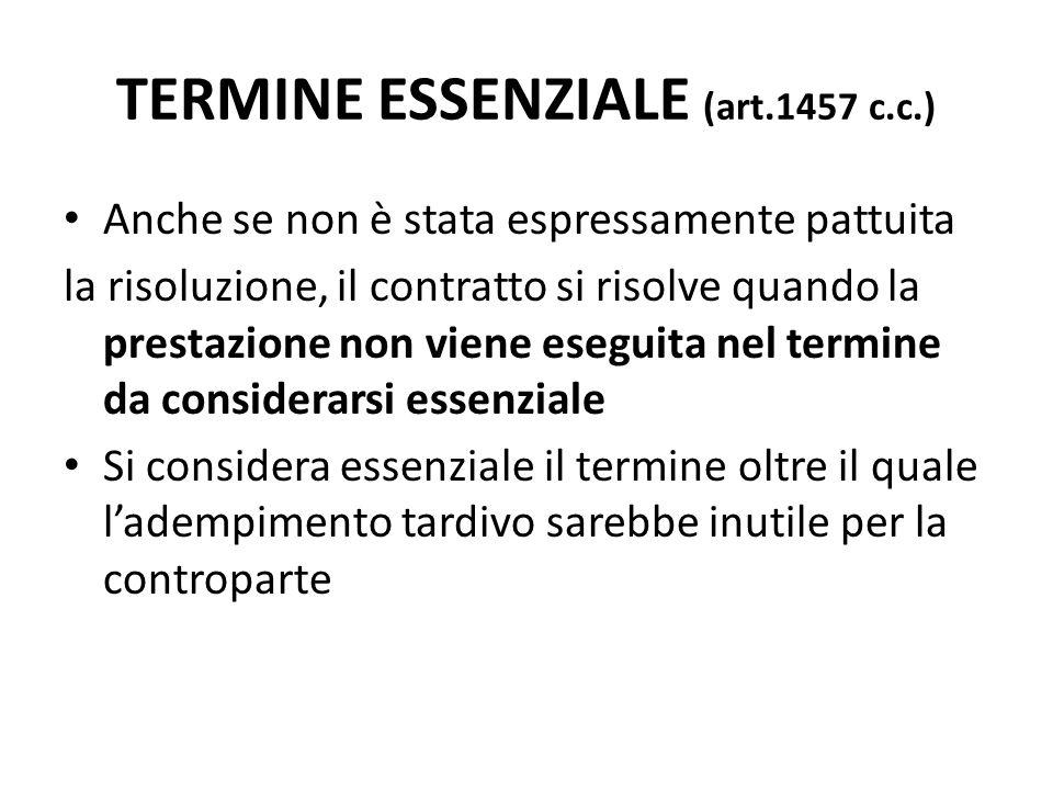 TERMINE ESSENZIALE (art.1457 c.c.)