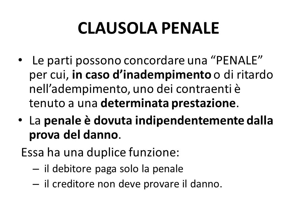 CLAUSOLA PENALE