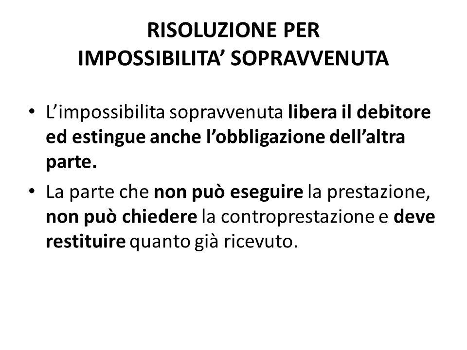 RISOLUZIONE PER IMPOSSIBILITA' SOPRAVVENUTA
