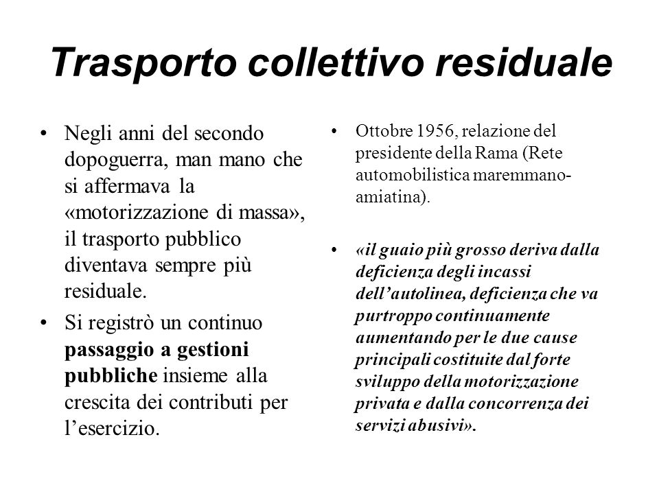 Trasporto collettivo residuale