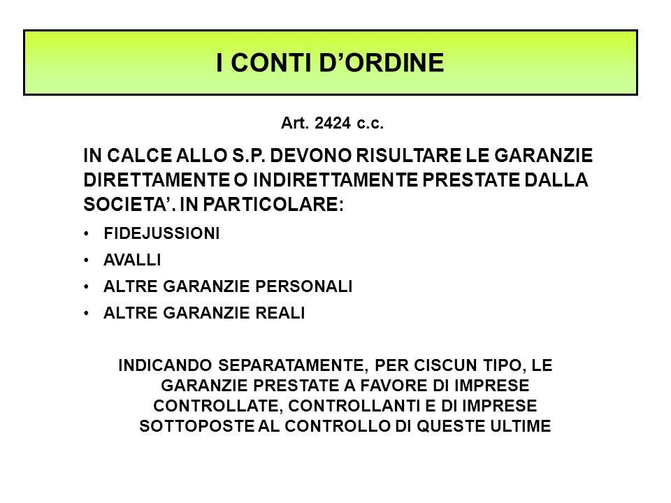 I CONTI D'ORDINE IN CALCE ALLO S.P. DEVONO RISULTARE LE GARANZIE