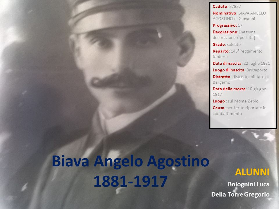 Biava Angelo Agostino 1881-1917