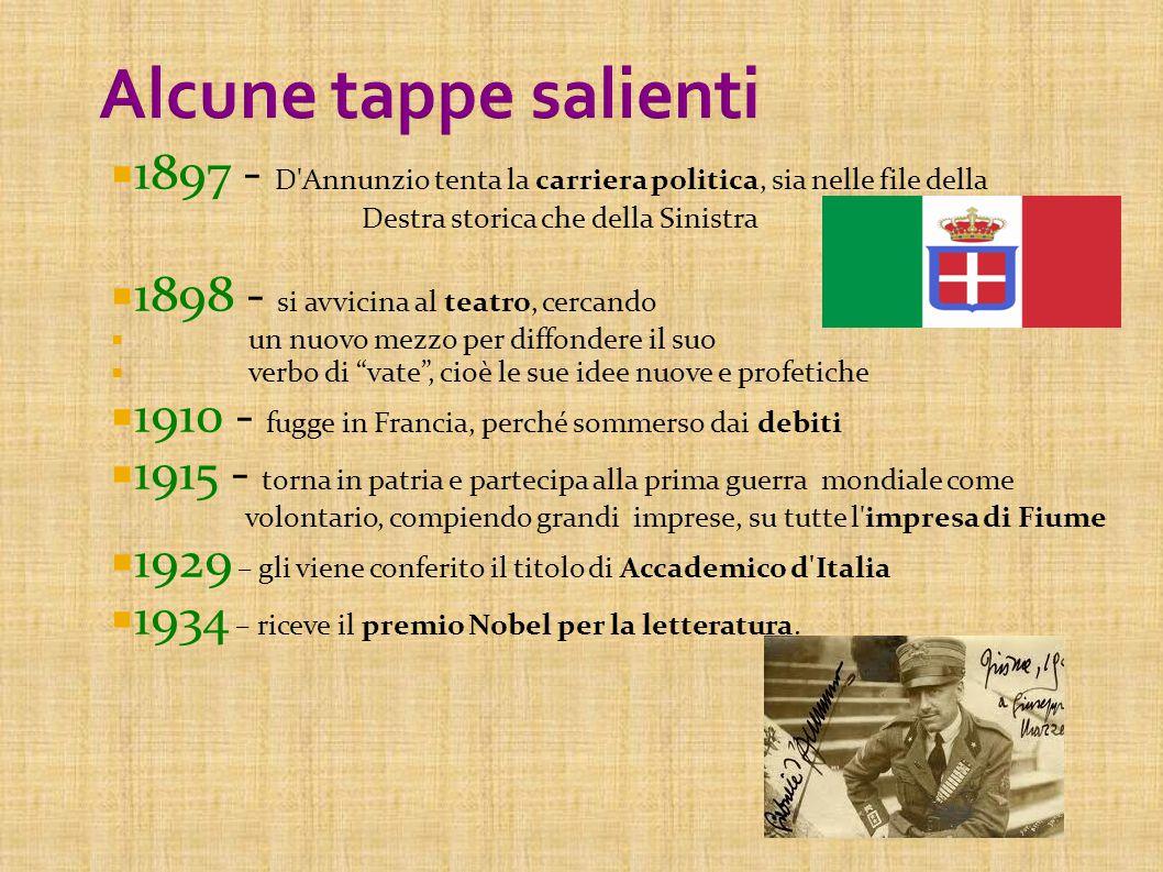 Alcune tappe salienti 1897 - D Annunzio tenta la carriera politica, sia nelle file della Destra storica che della Sinistra.
