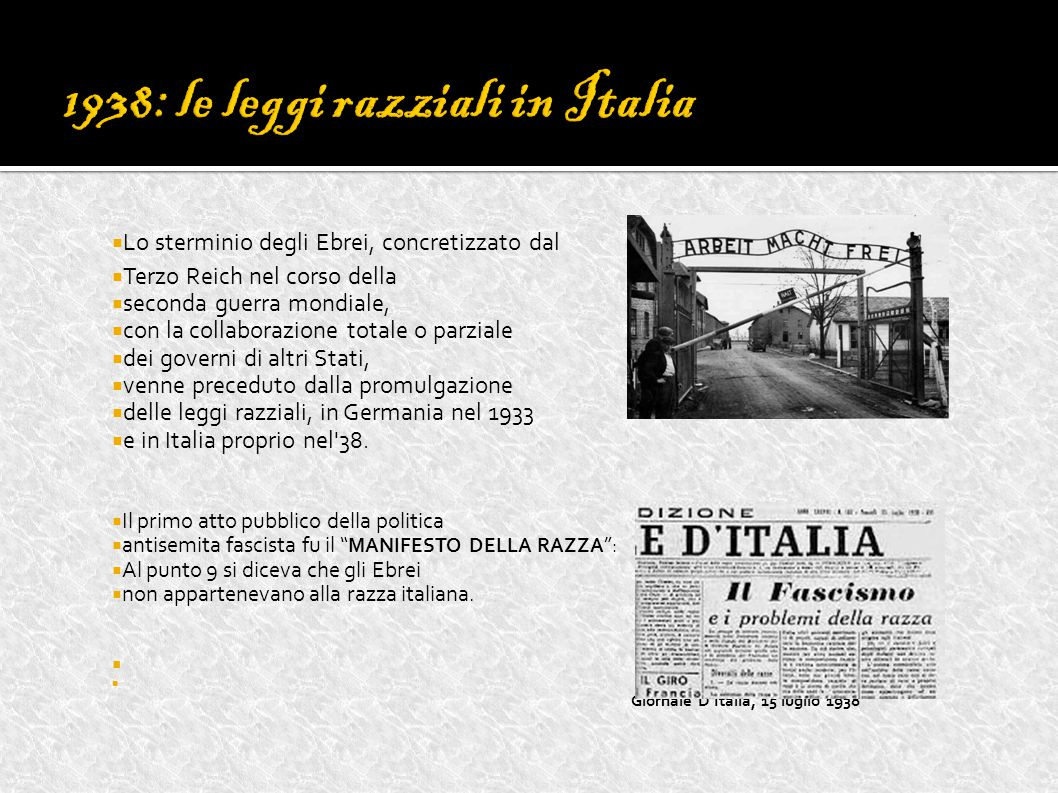 1938: le leggi razziali in Italia