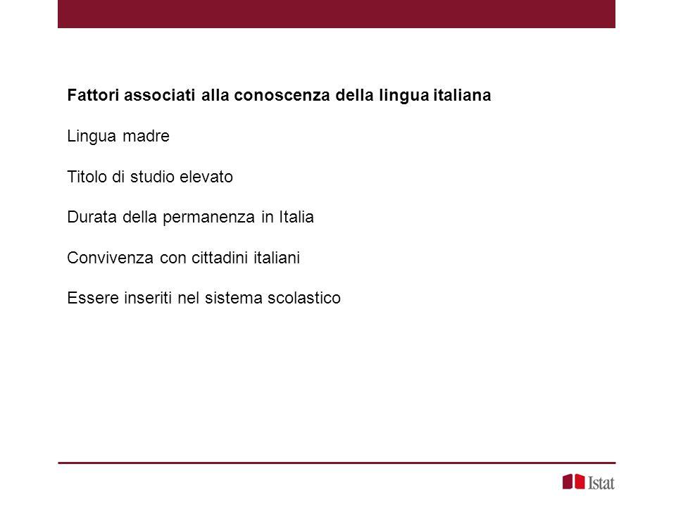Fattori associati alla conoscenza della lingua italiana