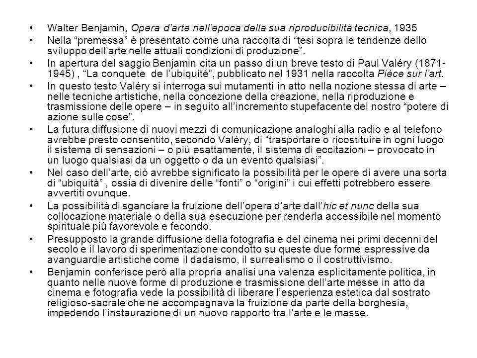 Walter Benjamin, Opera d'arte nell'epoca della sua riproducibilità tecnica, 1935