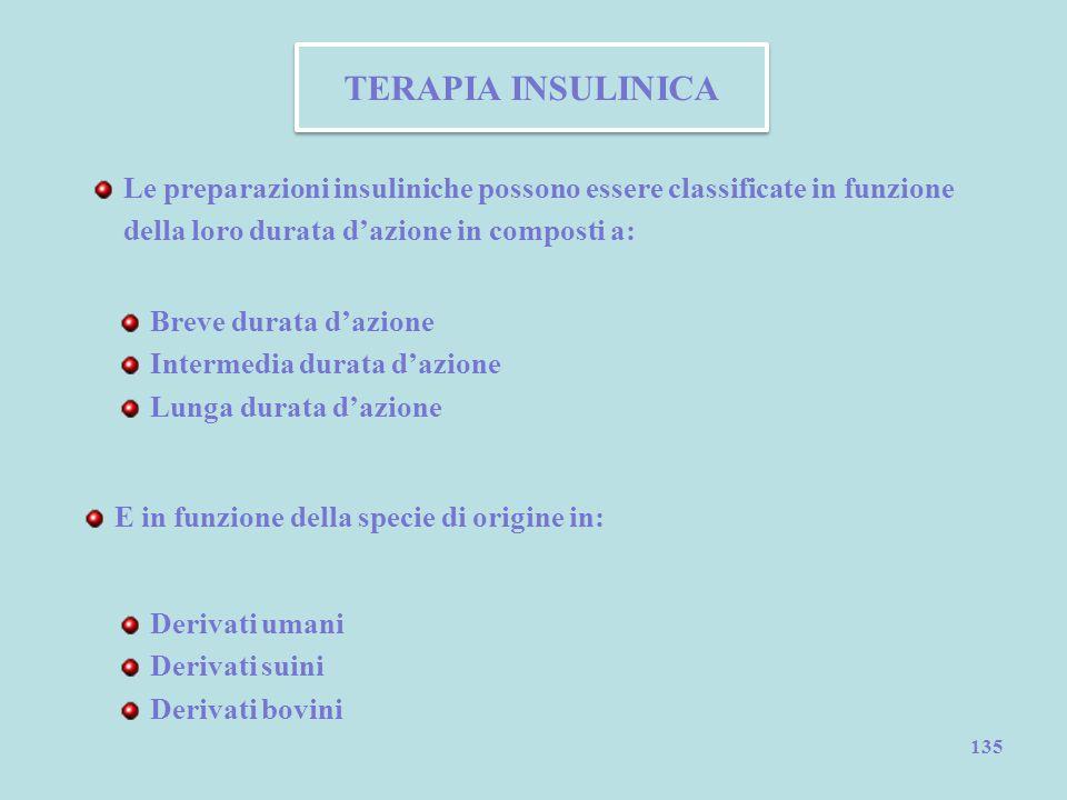 TERAPIA INSULINICA Le preparazioni insuliniche possono essere classificate in funzione della loro durata d'azione in composti a: