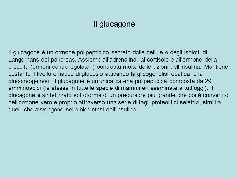 Il glucagone