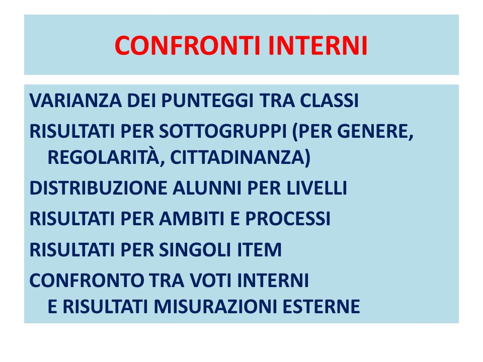 CONFRONTI INTERNI