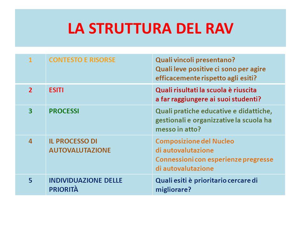 LA STRUTTURA DEL RAV 1 CONTESTO E RISORSE Quali vincoli presentano