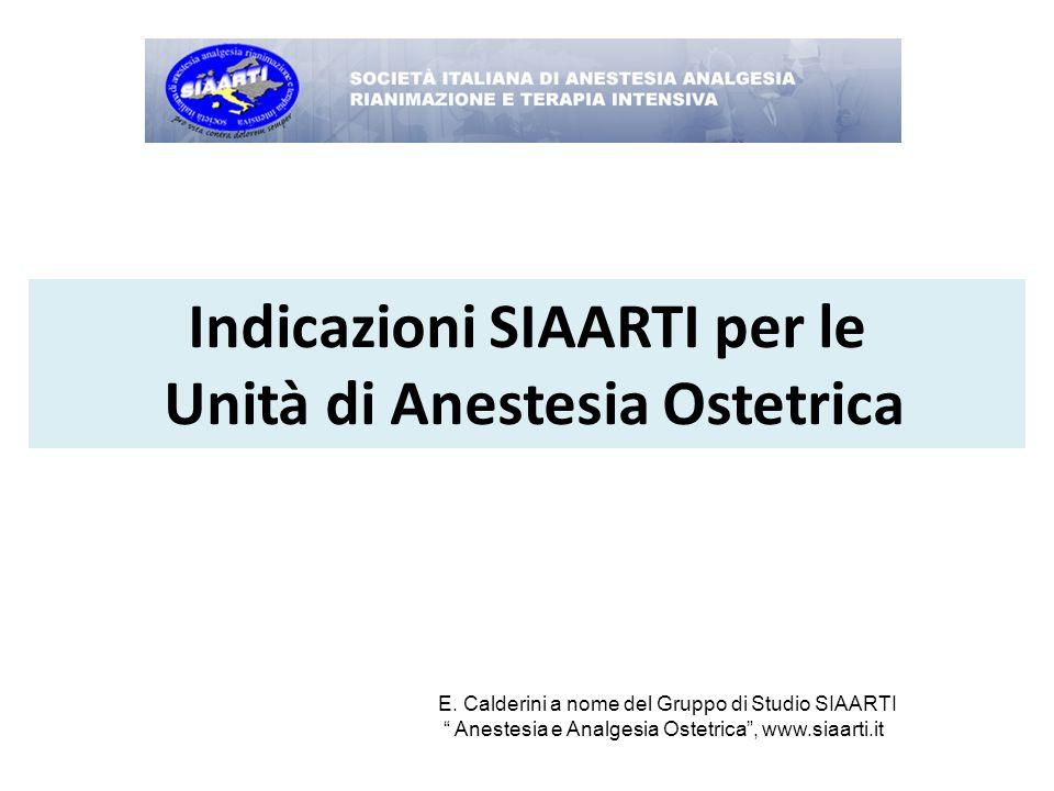 Indicazioni SIAARTI per le Unità di Anestesia Ostetrica
