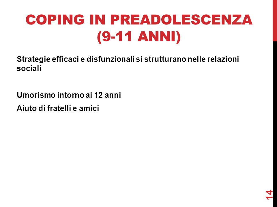 Coping in preadolescenza (9-11 anni)