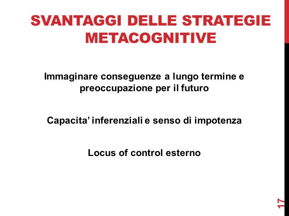 Svantaggi delle strategie metacognitive