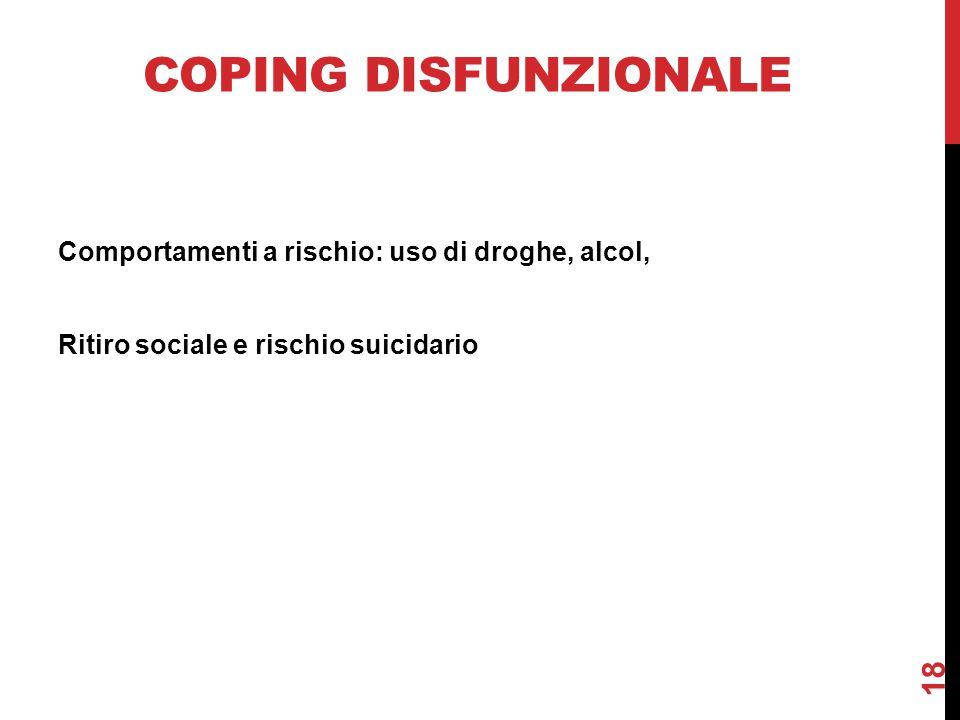 Coping disfunzionale Comportamenti a rischio: uso di droghe, alcol, Ritiro sociale e rischio suicidario