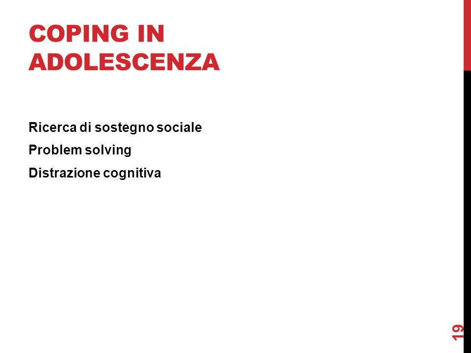 Coping in adolescenza Ricerca di sostegno sociale Problem solving Distrazione cognitiva