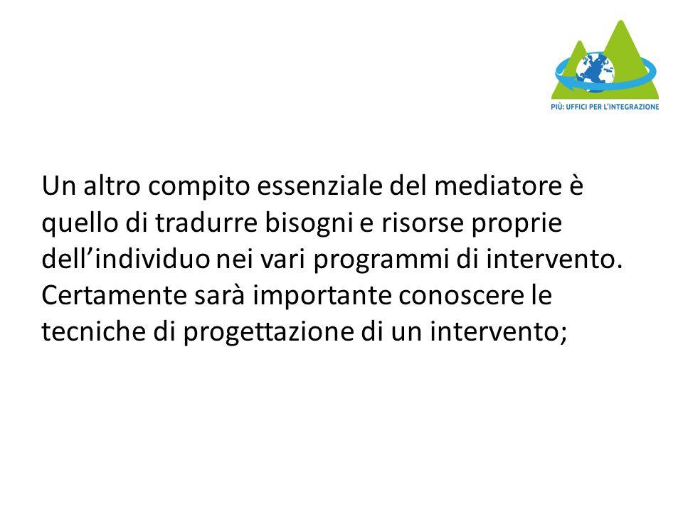 Un altro compito essenziale del mediatore è quello di tradurre bisogni e risorse proprie dell'individuo nei vari programmi di intervento.