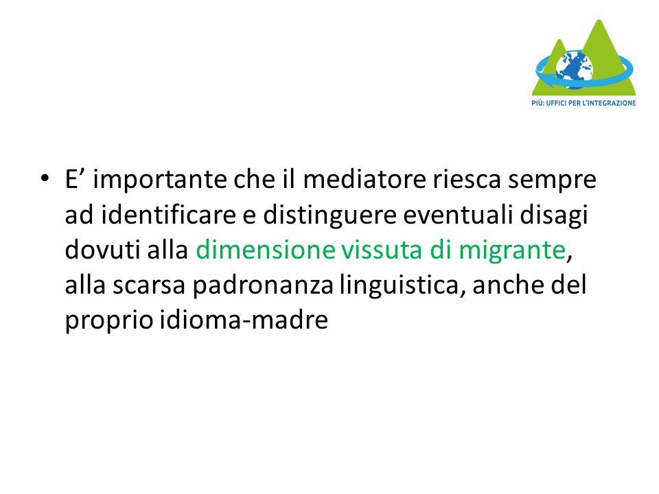 E' importante che il mediatore riesca sempre ad identificare e distinguere eventuali disagi dovuti alla dimensione vissuta di migrante, alla scarsa padronanza linguistica, anche del proprio idioma-madre