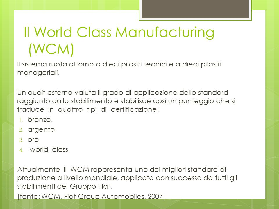 Il World Class Manufacturing (WCM)