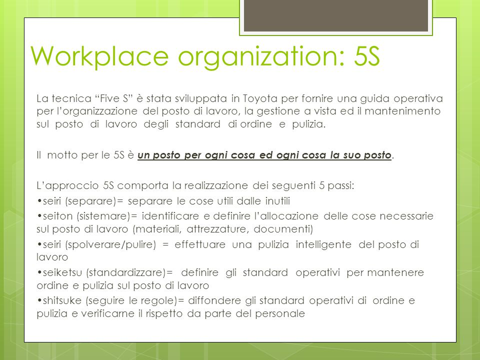 Workplace organization: 5S