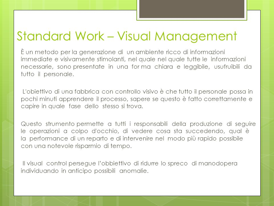 Standard Work – Visual Management