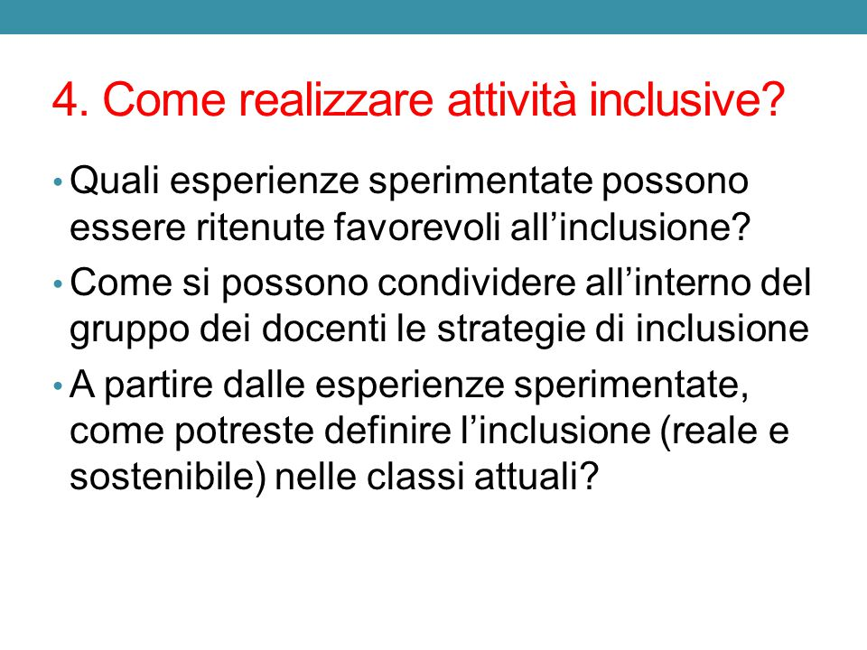 4. Come realizzare attività inclusive