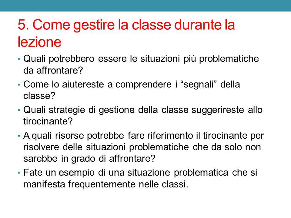 5. Come gestire la classe durante la lezione