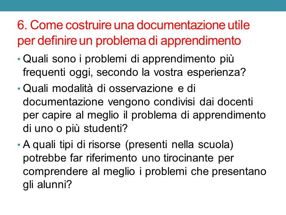 6. Come costruire una documentazione utile per definire un problema di apprendimento